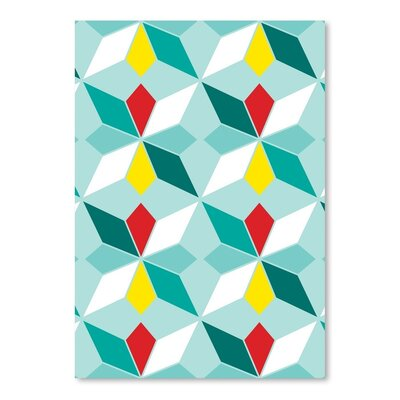 Americanflat Geometric Blue Graphic Art Wrapped on Canvas
