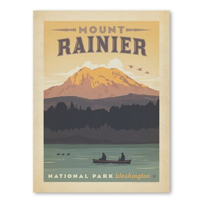 Americanflat Asa National Park Mount Ranier Vintage Advertisement Wrapped on Canvas