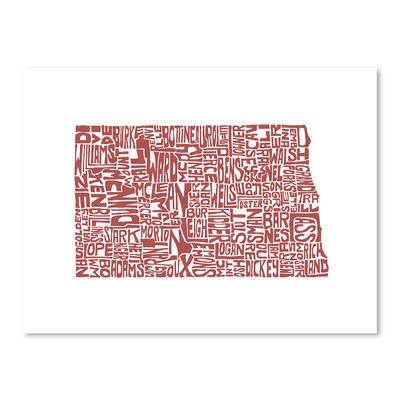 Americanflat North Dakota Typography Wrapped on Canvas