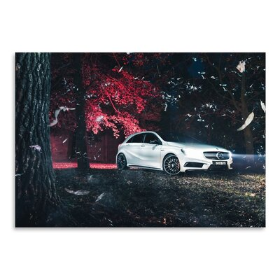 Americanflat White Mercedes Photographic Print Wrapped on Canvas