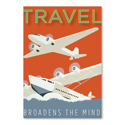 Americanflat Travel Broadens the Mind Graphic Art Wrapped on Canvas