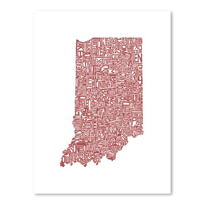 Americanflat Indiana Typography on Canvas
