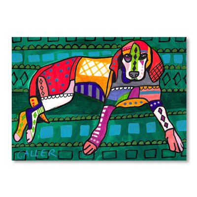 Americanflat Coonhound Dog Art Print Wrapped on Canvas