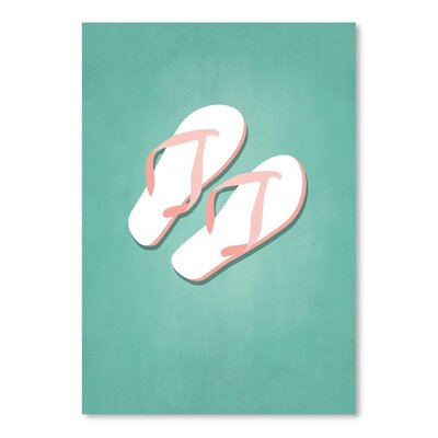 Americanflat PalmSprints Flipflops Graphic Art Wrapped on Canvas