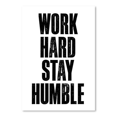 Americanflat Work Hard Stay Humble Typography on Canvas in White