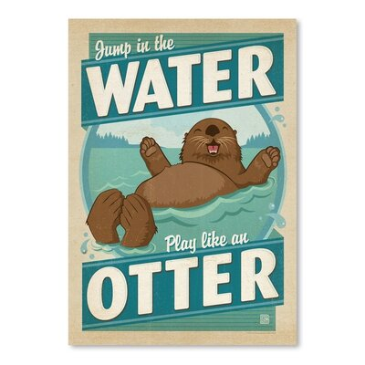 Americanflat Lake Water Otter Graphic Art Wrapped on Canvas
