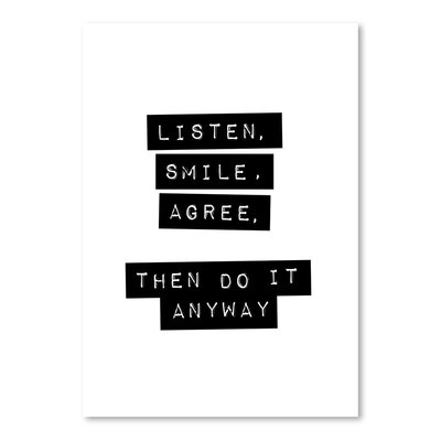 Americanflat Listen Smile Agree Typography on Canvas
