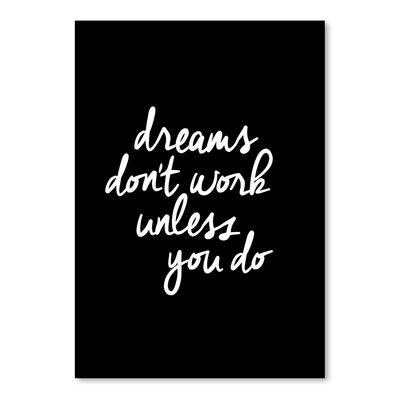 Americanflat Dreams Don't Work Unless You Do Typography on Canvas