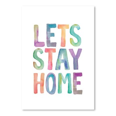 Americanflat Lets Stay Home Watercolor Typography on Canvas