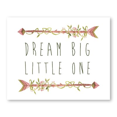 Americanflat Dream Big Little One Arrows Graphic Art Wrapped on Canvas