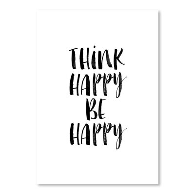 Americanflat Think Happy Be Happy Watercolor Typography