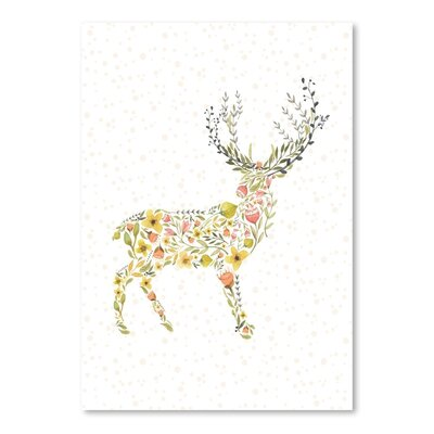Americanflat Floral Deer Graphic Art Wrapped on Canvas
