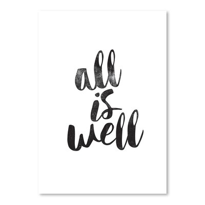 Americanflat All is Well Typography Wrapped on Canvas