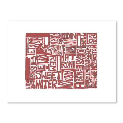 Americanflat Wyoming Typography Wrapped on Canvas