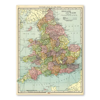 Americanflat England and Wales Graphic Art Wrapped on Canvas