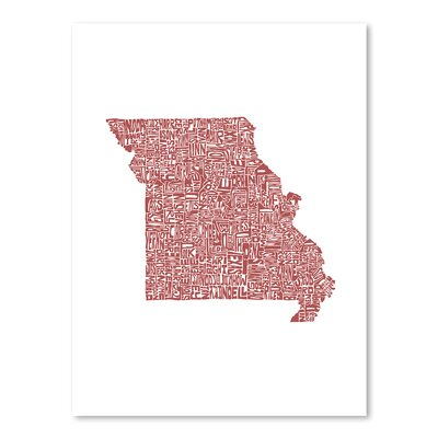 Americanflat Missouri Typography Wrapped on Canvas