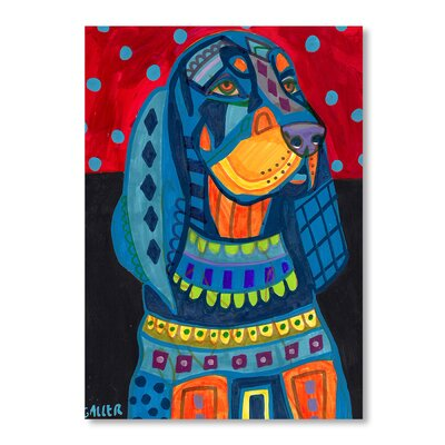 Americanflat Black Tan Coonhound Art Print Wrapped on Canvas
