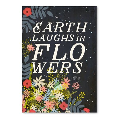 Americanflat Earth Laughts in Flowers Graphic Art Wrapped on Canvas