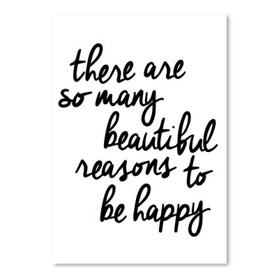 Americanflat There Are So Many Beautiful Reasons to Be Happy Typography Wrapped on Canvas