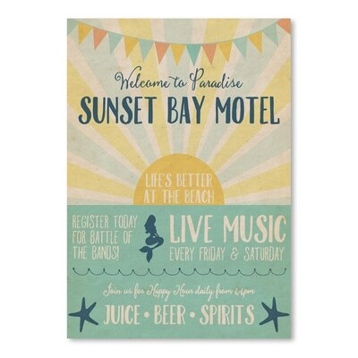 Americanflat Beach Bar and Bay Motel Vintage Advertisement Wrapped on Canvas