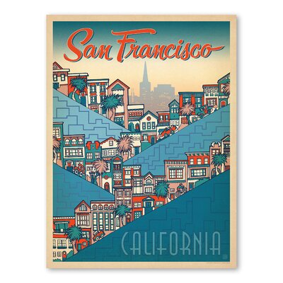 Americanflat San Francisco Hills Holly Carden Vintage Advertisement Wrapped on Canvas