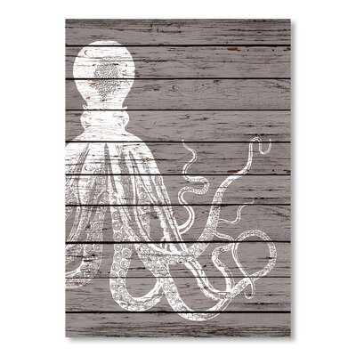 Americanflat Wood Offset Octopus Graphic Art on Canvas