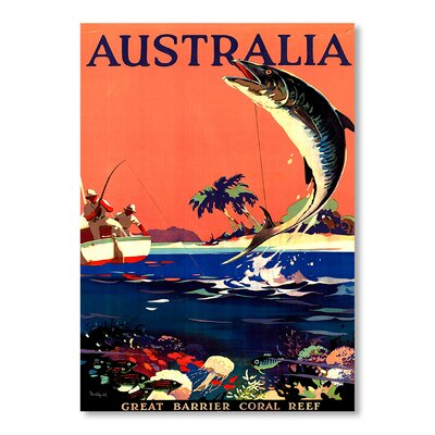 Americanflat Australia Great Barrier Reef Vintage Advertisement Wrapped on Canvas