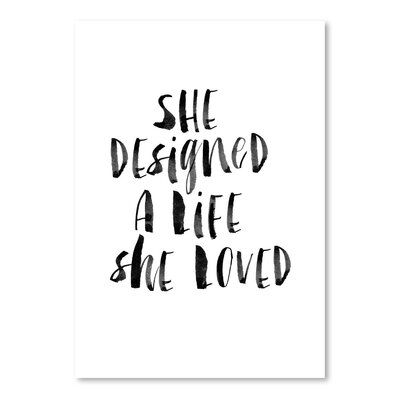 Americanflat She Designed A Life She Loved Typography Wrapped on Canvas