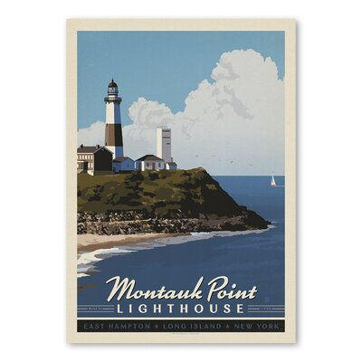 Americanflat Longisland Lighthouse Vintage Advertisement Wrapped on Canvas