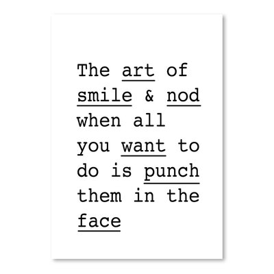 Americanflat The Art of Smile and Nod Typography Wrapped on Canvas