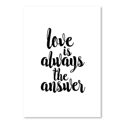 Americanflat Love Is Always The Answer Typography Wrapped on Canvas