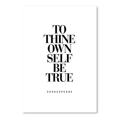 Americanflat To Thine Own Self Be True Typography on Canvas