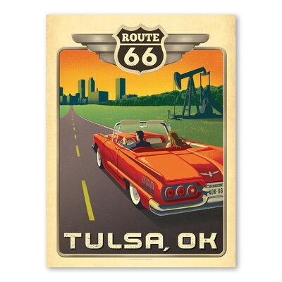 Americanflat Asa Tulsa Route 66 Vintage Advertisement Wrapped on Canvas
