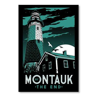 Americanflat Montauk Lighthouse Night Vintage Advertisement Wrapped on Canvas