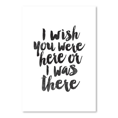 Americanflat I Wish You were Here or I Was There Typography