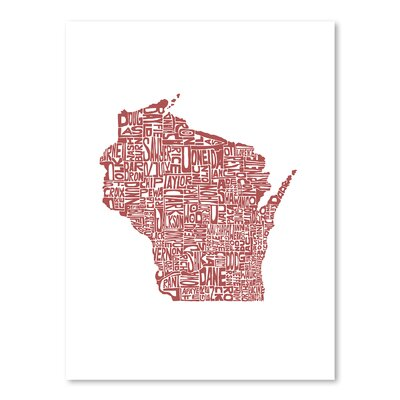Americanflat Wisconsin Typography on Canvas