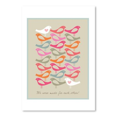 Americanflat Birds Made for Each Other Pinks Graphic Art on Canvas