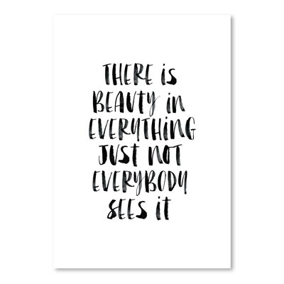 Americanflat There Is Beauty in Everything Watercolor Typography on Canvas