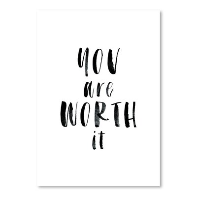 Americanflat You Are Worth It Typography Wrapped on Canvas