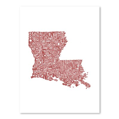 Americanflat Louisiana Typography Wrapped on Canvas