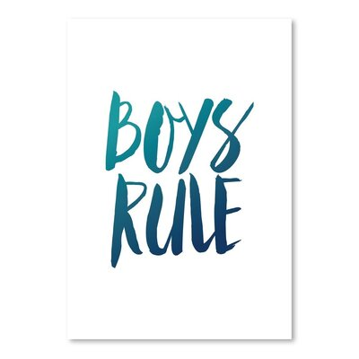 Americanflat Boys Rule Typography Wrapped on Canvas