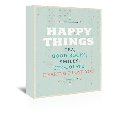 Americanflat Happy Things Typography Wrapped on Canvas