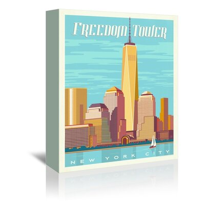 Americanflat Freedom Tower Vintage Advertisement Wrapped on Canvas