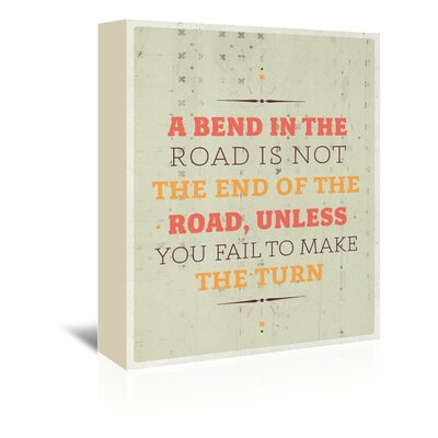 Americanflat Bend in the Road Typography Wrapped on Canvas
