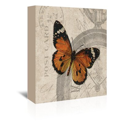 Americanflat Orange Butterfly Graphic Art on Canvas