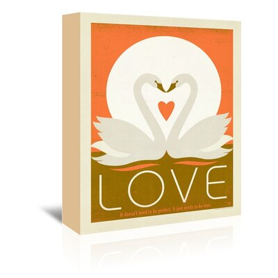 Americanflat Love Swans Graphic Art Wrapped on Canvas