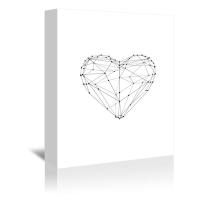 Americanflat Love Heart Wire Graphic Art Wrapped on Canvas