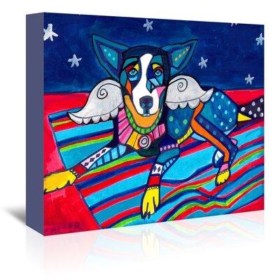 Americanflat Basenji Angel Wings Art Print Wrapped on Canvas