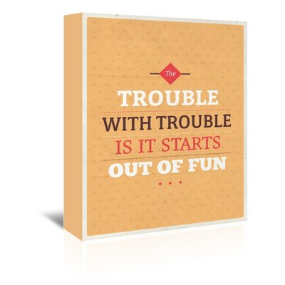 Americanflat Trouble Typography Wrapped on Canvas