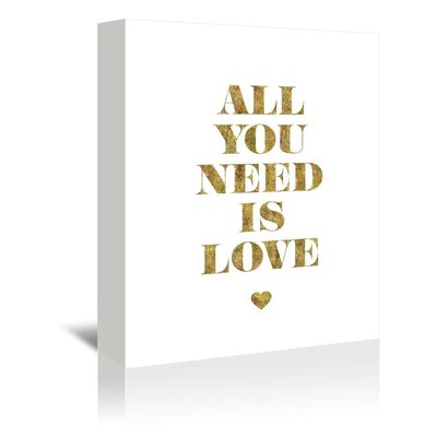 Americanflat All You Need Is Love Typography Wrapped on Canvas in Gold